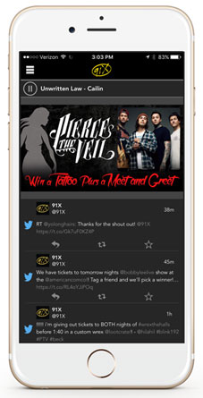 The 91X App For IPhone Or Android